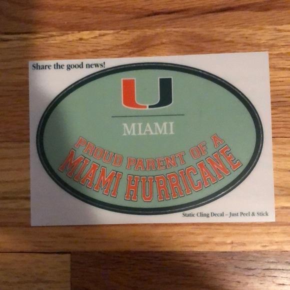 University of Miami Accessories | UM Proud Parent StaticCling Car ...